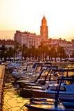 City of Split Riva at sunrise. Landmarks silhouette, Dalmatia, Croatia stock images