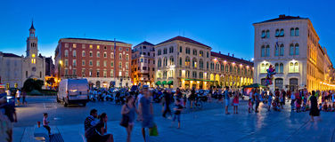 City of Split square evening panorama Royalty Free Stock Images