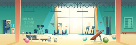 Modern fitness club gym cartoon vector interior. City sport club empty interior cartoon vector. Various fitness equipment and machines for body workout and vector illustration