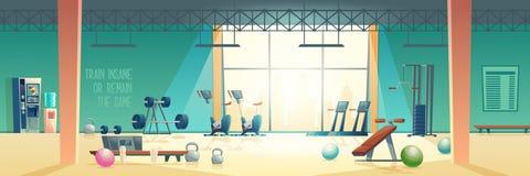 Modern fitness club gym cartoon vector interior
