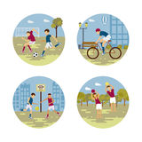 City sport set of banners. Vector flat design on fitness workout people on urban city street background. Isolated illustration of soccer, basketball, cycling Royalty Free Stock Photography