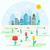 City in spring flat design Stock Images