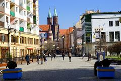 City in the spring morning. Legnica, Poland in the march morning stock photography