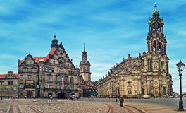 City square and Dresden Cathedral. Stock Images