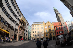 City square in Innsbruck. The Small Golden Roof and  church tower on the main square in Innsbruck Royalty Free Stock Images