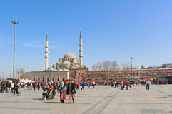 City square near The New Mosque, Istanbul, Turkey Stock Images