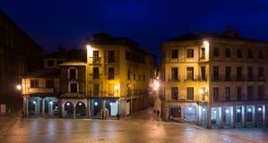 City square in night time. Segovia Royalty Free Stock Photo