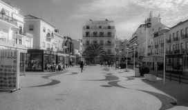 City Square in the surf town of Nazare, Portugal Stock Photos