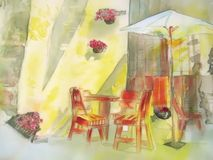 City sreet cafe in yellow painting. Silk. Stock Image