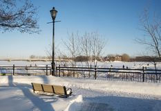 Bernard-Besner skating trail on the Mille ÃŽles River. The City of St. Eustache in Quebec, Canada is best known for its historical heritage and architectural stock image