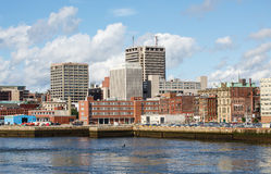 City of St Johns from the Sea. View of downtown St Johns, Newfoundland in Canada from the sea Royalty Free Stock Photos