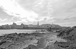 City of St Malo in low tide. Brittany, France. City of St Malo in low tide, under a cloudy sky. Brittany, France Stock Images