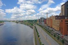 City of St. Paul by river. A picture of St. Paul Minnesota architecture by river Stock Photos