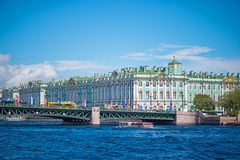 Grand Buildings Along River Royalty Free Stock Photo