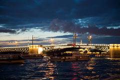 City of St. Petersburg, night views from the motor ship Stock Image