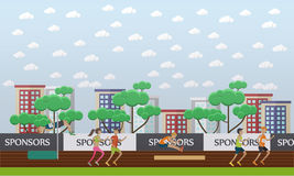 City stadium concept vector illustration in flat style. City stadium flat design vector illustration. Sportsmen and sportswomen running and jumping. Track and Stock Image