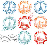 City stamps collection vector illustration