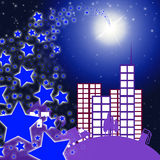 City Star Indicates Full Moon And Cityscape Stock Photo