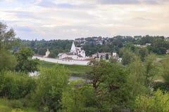 View through the Volga to the monastery. Royalty Free Stock Photo