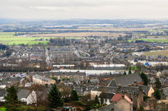 The city of Stirling. Top view over the city of Stirling in Scotland Stock Photography