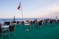 Ship deck. Sea and sun at moorning. Waves and nature. royalty free stock photo