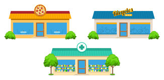 City Store Buildings Set Royalty Free Stock Photography