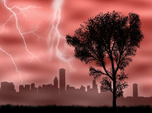 City in the storm Stock Images