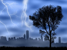 City in the storm Stock Image