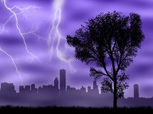 City in the storm. City skyline in the storm and under the lightnings Royalty Free Stock Photos