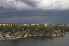 City with storm clouds Royalty Free Stock Photos