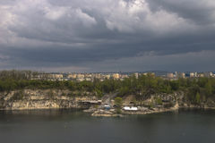 City with storm clouds Royalty Free Stock Images