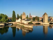 The City of Strasbourg from the lake of the city on a blue sky summer day, France royalty free stock images