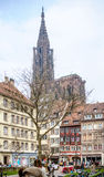 City of Strasbourg with tourists admiring the city and Cathedral Stock Photo