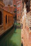 City streen canal in Venice with green water Stock Photos