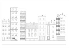 City street. Black & white street coloring book vector illustration