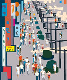 City street. Vector illustration of busy city street Royalty Free Stock Photography