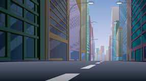 City Street. Background illustration. Basic (linear) gradients used. No transparency royalty free illustration