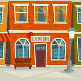 City street background with shop building, cartoon vector illustration. Town exterior, facade with windows Stock Photo