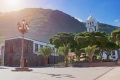 City street - Beautiful typical spanish colonial architecture, Garachico city, Tenerife, Canary Islands stock photos