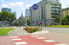 City street with bicycle lane Royalty Free Stock Images