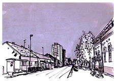 City street. Black and white ink illustration of street in Kikinda Banat Vojvodina Serbia Royalty Free Stock Images