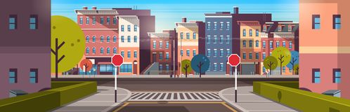City street building houses architecture empty downtown road urban cityscape early morning sunrise horizontal banner royalty free illustration