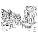 City street and building. Vector illustration. Architecture Stock Photo