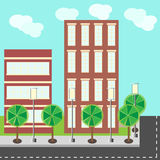 City street buildings flat illustration Royalty Free Stock Photo