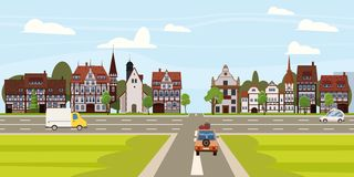 City street buildings old houses architecture downtown, crossroads road highway cars. Vector, illustration, cartoon. City street buildings old houses vector illustration