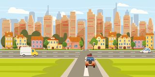 City street buildings old houses architecture downtown, crossroads road highway cars, skyscrapers modern buildings. City street buildings old houses architecture stock illustration