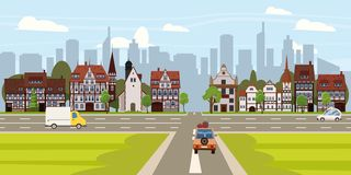 City street buildings old houses architecture downtown, crossroads road highway cars, skyscrapers modern buildings. City street buildings old houses architecture vector illustration