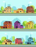 City street with buildings, suburban road and houses, cottages. Vector seamless horizontal cityscapes vector illustration