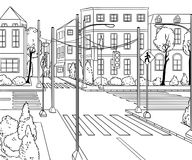 City street with buildings, traffic light, crosswalk and traffic sign. Сityscape background in sketch style. Vector illustration Stock Photos