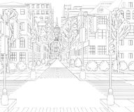 City street with buildings, traffic light, crosswalk and traffic sign. Cityscape background in sketch style. Vector illustration Stock Photography
